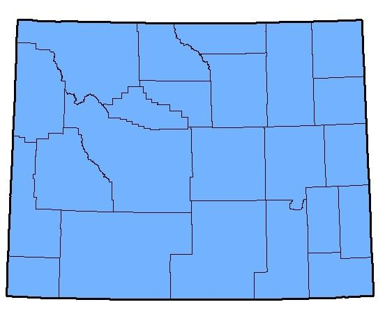 Map depicting the native range of the Western Tiger Salamander in Wyoming